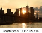 new york cityscape at sunset.... | Shutterstock . vector #1114623548