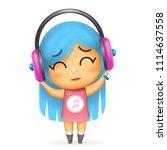 girl headphones happy listen... | Shutterstock .eps vector #1114637558