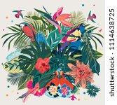 illustration with hummingbird... | Shutterstock .eps vector #1114638725