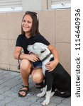 happy girl with her four legged ... | Shutterstock . vector #1114640936