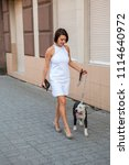 woman with a dog walking down... | Shutterstock . vector #1114640972