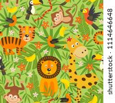 seamless pattern with jungle... | Shutterstock .eps vector #1114646648
