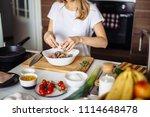 home cozy kitchen chef female... | Shutterstock . vector #1114648478