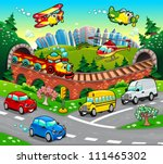 funny vehicles in the city.... | Shutterstock .eps vector #111465302