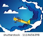 airplane flying on sky with... | Shutterstock .eps vector #1114656398