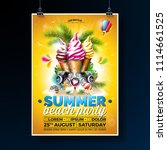 vector summer beach party flyer ... | Shutterstock .eps vector #1114661525