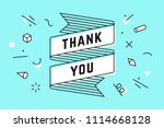 thank you. ribbon banner and... | Shutterstock .eps vector #1114668128