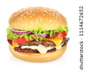 hamburger with cheese  bacon ... | Shutterstock . vector #1114672652