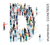 crowded isometric people vector ... | Shutterstock .eps vector #1114678325
