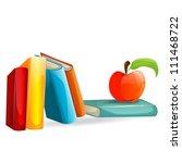 vector books and an apple... | Shutterstock .eps vector #111468722