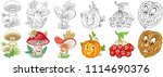 cartoon plants collection.... | Shutterstock .eps vector #1114690376