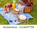 picnic basket with different... | Shutterstock . vector #1114697798