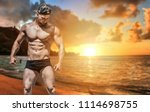 extremely fit guy posing and... | Shutterstock . vector #1114698755