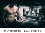 extremely fit guy posing and... | Shutterstock . vector #1114698758