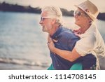 happy senior couple have fun... | Shutterstock . vector #1114708145