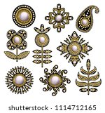 textile embroidered patches... | Shutterstock .eps vector #1114712165