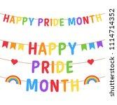 happy pride month vector... | Shutterstock .eps vector #1114714352