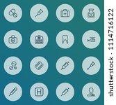 medicine icons line style set... | Shutterstock . vector #1114716122
