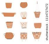vector flower pots for...   Shutterstock .eps vector #1114727672