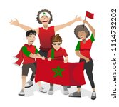 morocco football fans. cheerful ... | Shutterstock .eps vector #1114732202