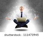 yoga businessman in total... | Shutterstock . vector #111473945