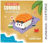 vintage summer poster with sake ... | Shutterstock .eps vector #1114753922