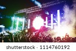 young people dancing and having ... | Shutterstock . vector #1114760192