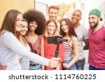 happy millennials friends... | Shutterstock . vector #1114760225