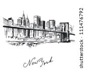 new york   hand drawn metropolis | Shutterstock .eps vector #111476792