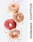 donut. sweets doughnuts on... | Shutterstock . vector #1114775135
