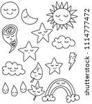 weather kawaii  star  moon ... | Shutterstock .eps vector #1114777472
