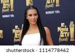 Small photo of Kim Kardashian at the 2018 MTV Movie And TV Awards held at the Barker Hangar in Santa Monica, USA on June 16, 2018.
