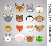 Stock vector set of animal heads artwork idea for baby products badges stickers circle magnets 1114780052