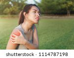 young woman asian have accident ... | Shutterstock . vector #1114787198