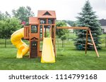 a wooden play structure and... | Shutterstock . vector #1114799168
