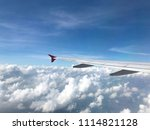 view from airplane  wing and... | Shutterstock . vector #1114821128