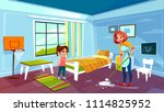 mother and daughter cleaning... | Shutterstock .eps vector #1114825952