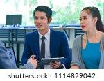 business partners interacting... | Shutterstock . vector #1114829042