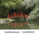 Small photo of A red bridge over water in a Japanese garden.