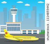 airport building and airplane... | Shutterstock .eps vector #1114855442