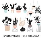 house plants collection with... | Shutterstock .eps vector #1114869065