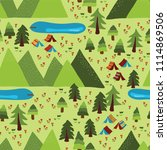 camping tents  trees  lakes ...   Shutterstock .eps vector #1114869506