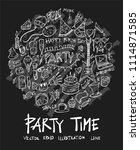 party doodle illustration... | Shutterstock .eps vector #1114871585