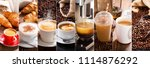 coffee collage of various cups... | Shutterstock . vector #1114876292