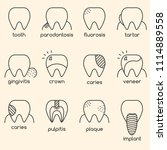 set of minimalistic teeth... | Shutterstock .eps vector #1114889558