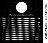 moon calendar 2019  english... | Shutterstock .eps vector #1114893908