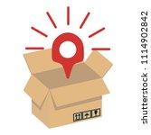 opened brown packaging box ... | Shutterstock .eps vector #1114902842