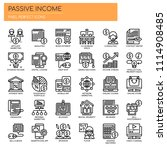 passive income   thin line and... | Shutterstock .eps vector #1114908485