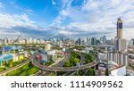 bangkok city with curve express ... | Shutterstock . vector #1114909562