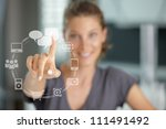 smiling woman  pressing  touch... | Shutterstock . vector #111491492